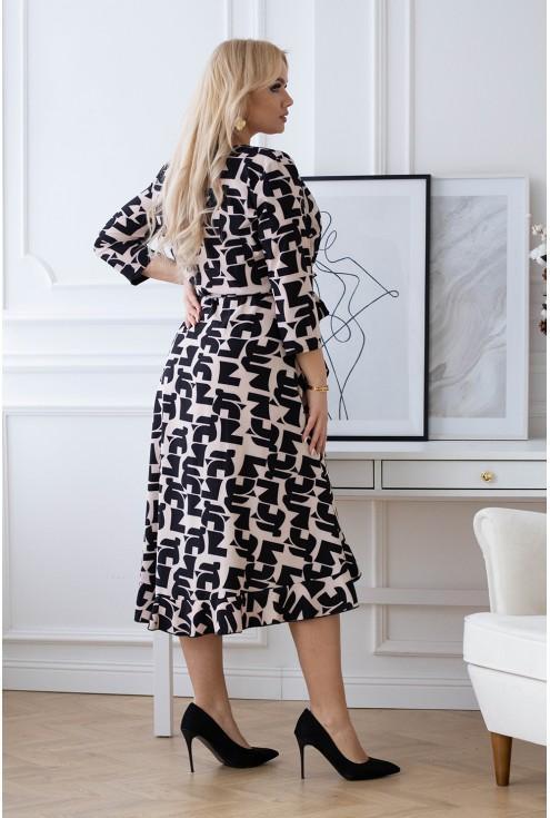 Beżowa sukienka z czarnym wzorem