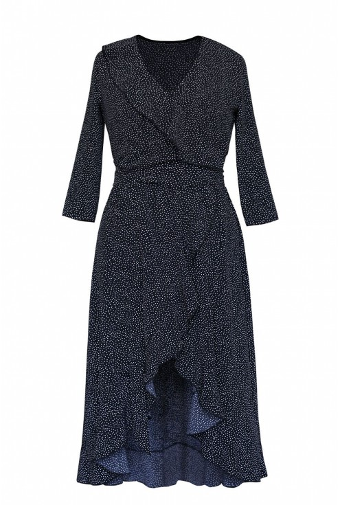 czarna sukienka w białe kropki kopertowy fason xlka