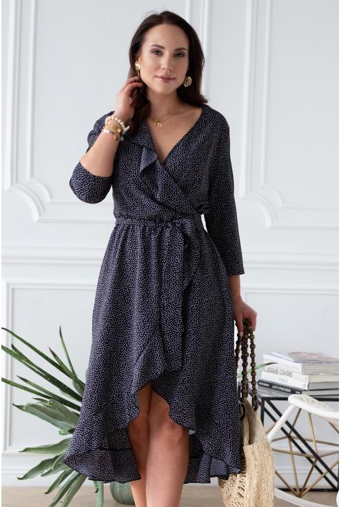 Asymetryczna sukienka z falbanką czarna w białe kropki - LILIANE