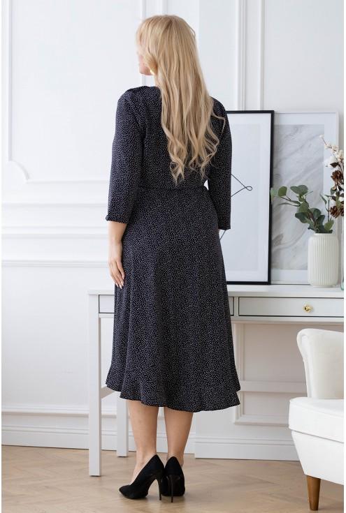 Modna czarna sukienka w kropki