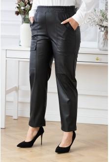 Czarne spodnie z eco skóry