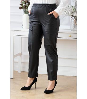 Czarne spodnie z eco skóry ze ściągaczem w pasie - NADINE
