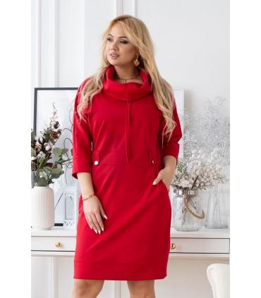 Czerwona sukienka z półgolfem i troczkami - GAYA