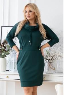 butelkowa sukienka plus size z półgolfem i ozdobnymi troczkami