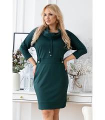 Butelkowa sukienka z półgolfem i troczkami - GAYA
