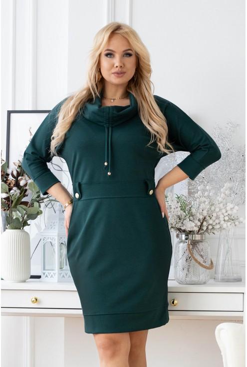 modna sukienka plus size w kolorze butelkowym