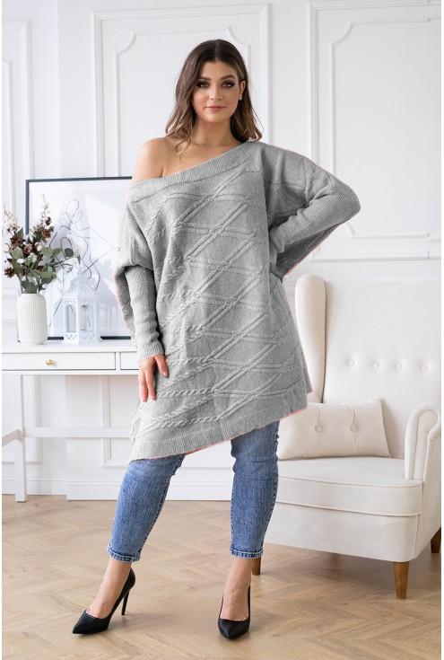 Wygodny sweterek w szarym kolorze duże rozmiary xxl