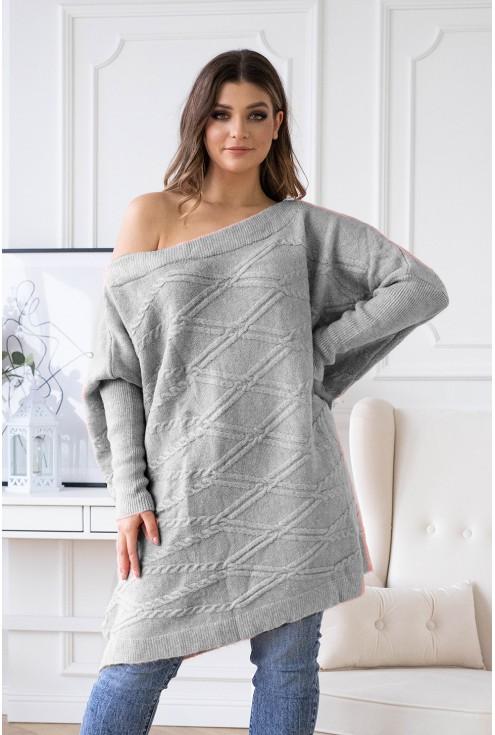 szary sweter oversize plus size dla kobiet
