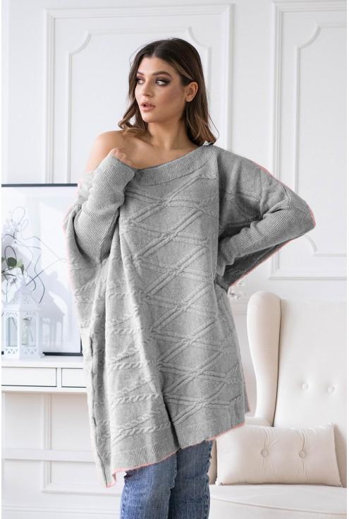 Duży szary sweterek oversize PAOLA sklep XL-ka