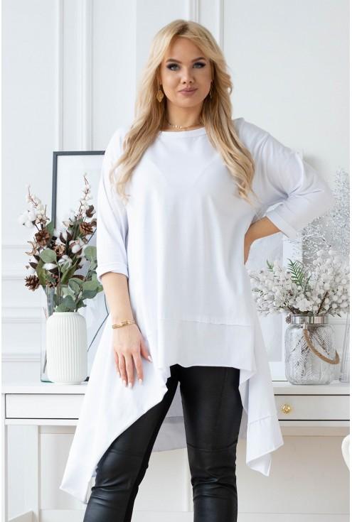 biała asymetryczna bluzka/tunika plus size