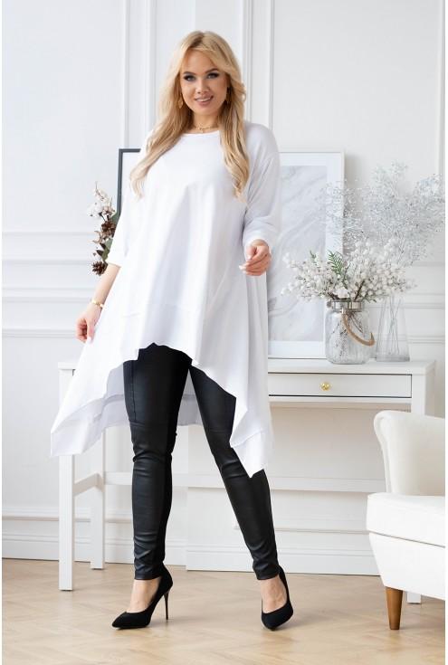 modna biała asymetryczna bluzka plus size