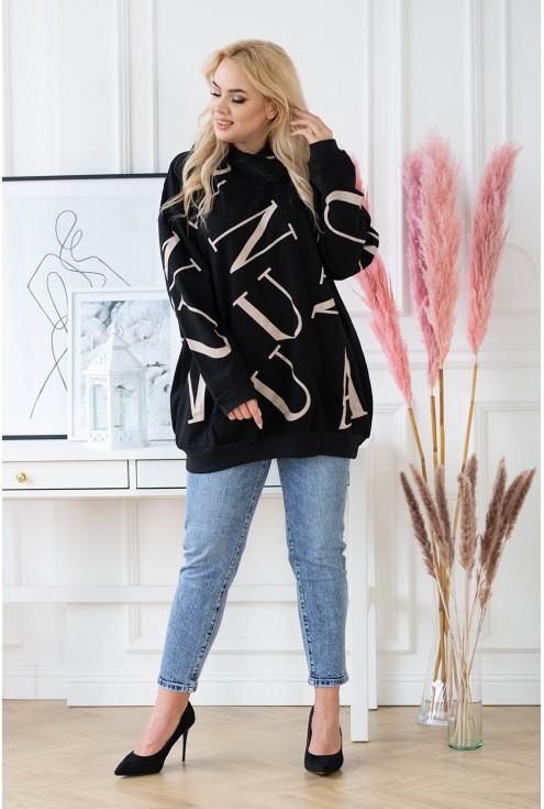 szeroka czarna bluza damska xlka