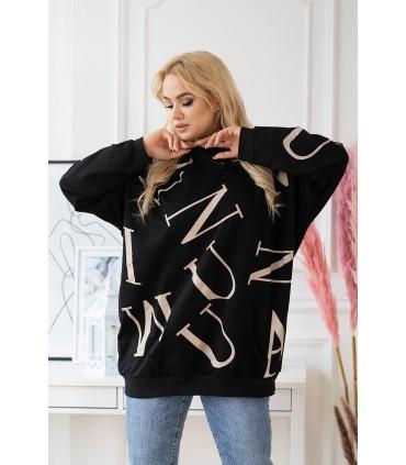 Czarna bluza plus size w beżowe litery z kapturem - ELIZABETH