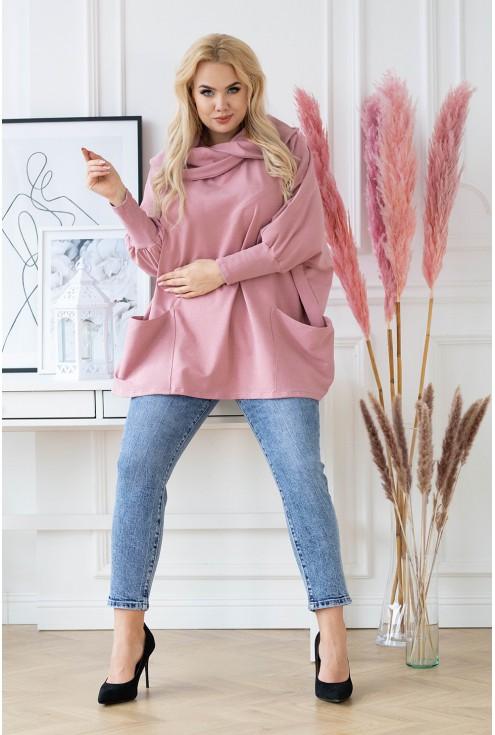 Bluza z golfem plus size z kieszeniami - CATRICE - brudny-róż