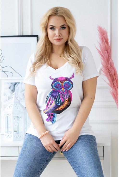 Biały t-shirt z krótkim rękawem - wzór sowa - SASHA