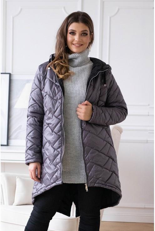 grafitowa pikowana kurtka plus size