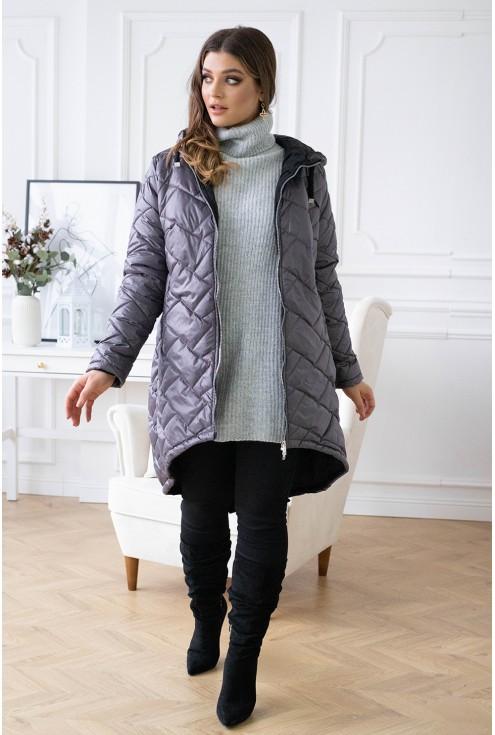 modna kurtka z kapturem plus size