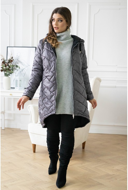 pikowana długa kurtka xxl