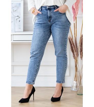 Niebieskie przecierane spodnie MOM Jeans - JASEN