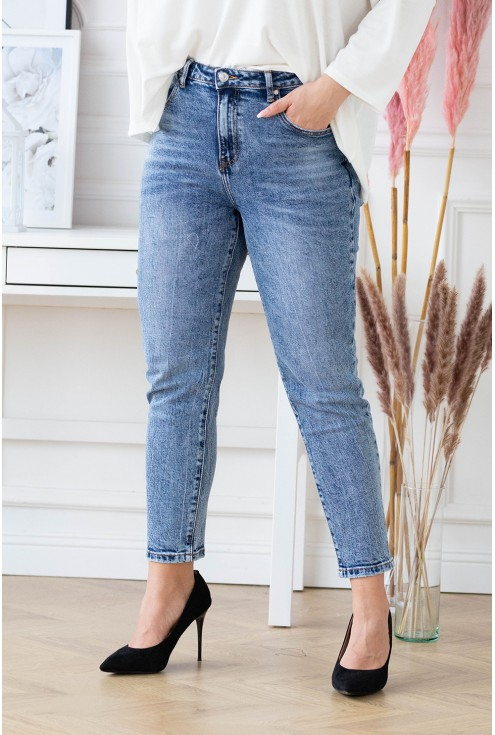 niebieskie Mom jeans