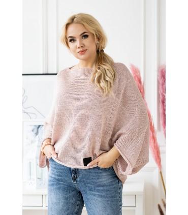 Pudrowy sweterek z obniżoną linią ramion - Camila