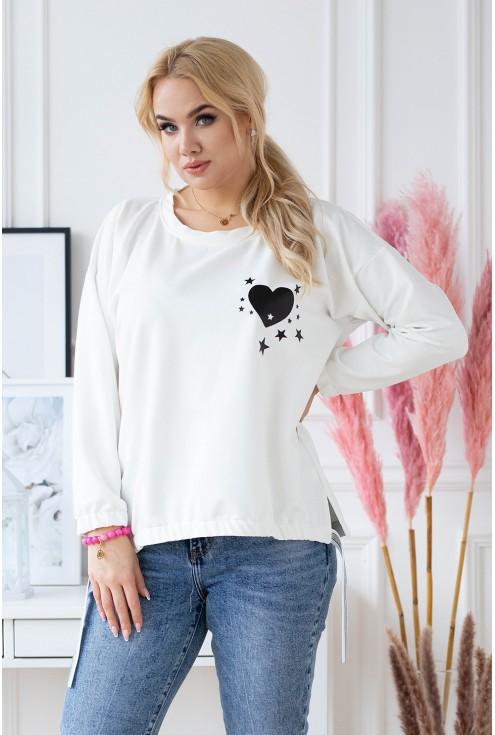 Biała bluza ze ściągaczami