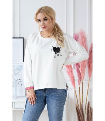 Kremowo-biała bluza plus size ze ściągaczami z sercem - DAFNE