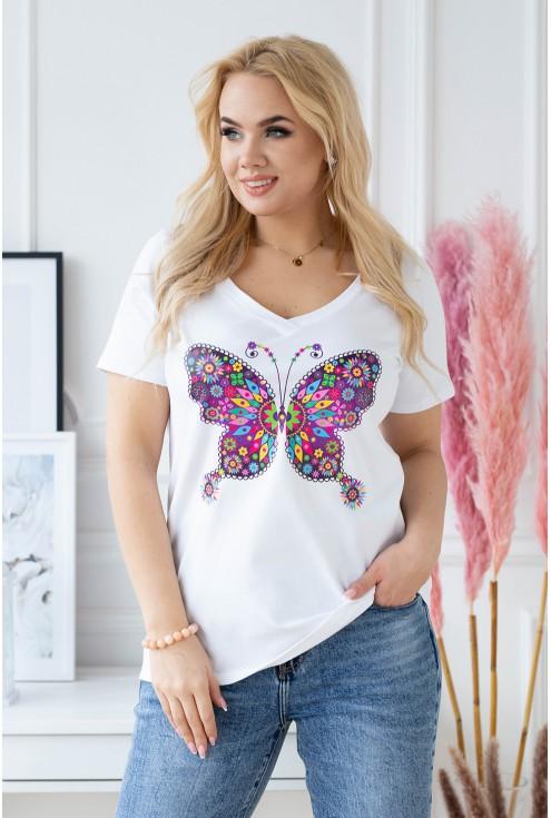 Biały t-shirt Sasha motyl XXL