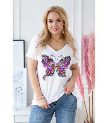 Biały t-shirt z krótkim rękawem - wzór motyl - SASHA