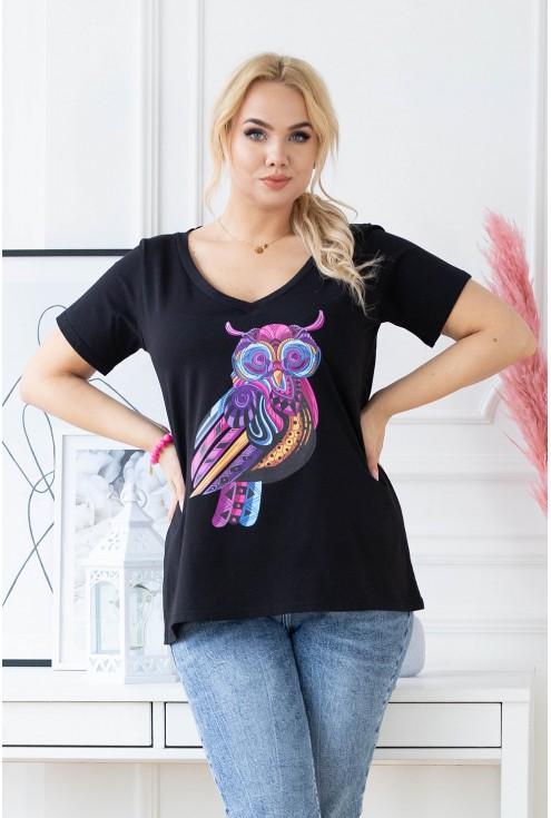 czarna bluzka plus size z sową na przodzie xxl