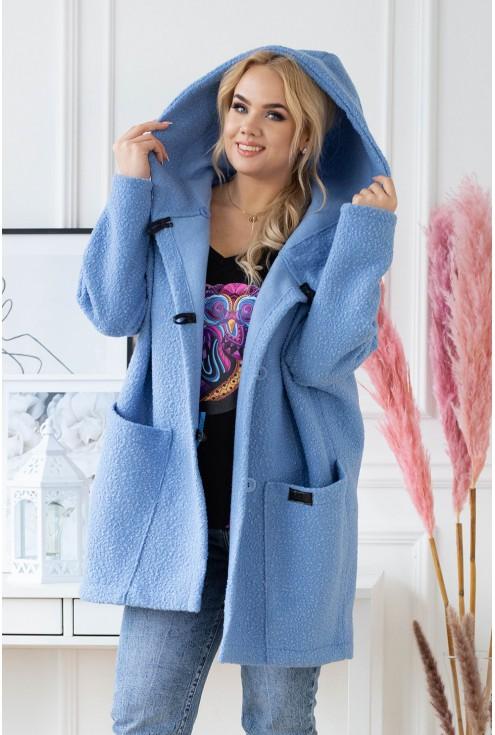 niebieski płaszcz plus size duże rozmiary w XL-ce