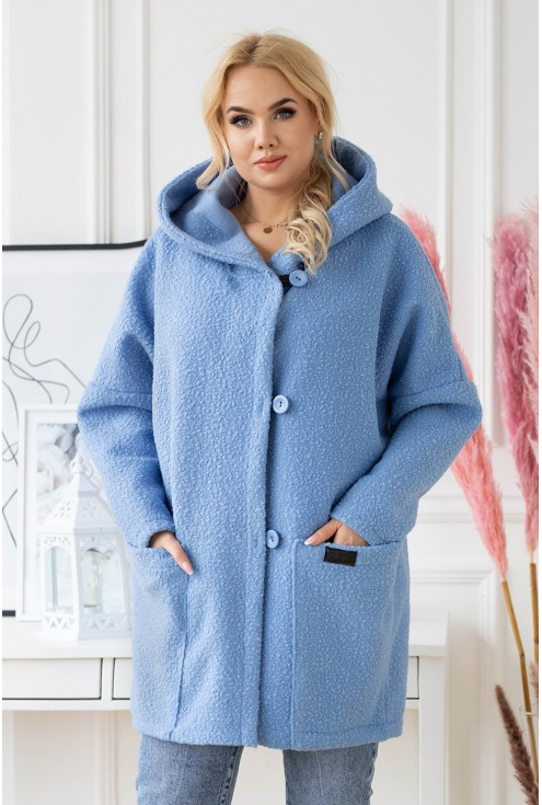 Niebieski płaszcz oversize z kapturem TIFFANY