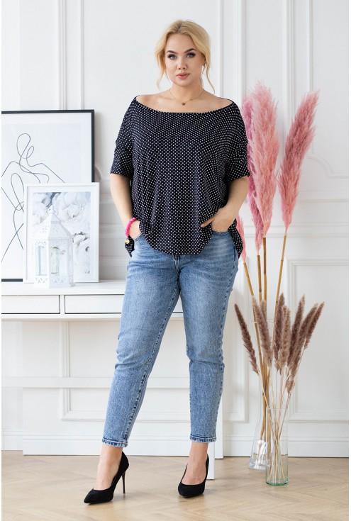 czarna bluzka oversize w modny wzór