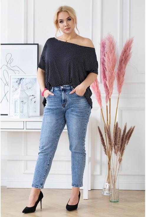 czarna bluzka w modny wzór xxl