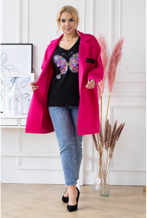 płaszcz plus size z długim rękawem