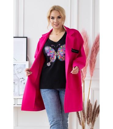 Amarantowy elegancki płaszczyk plus size z długim rękawem - DELLA