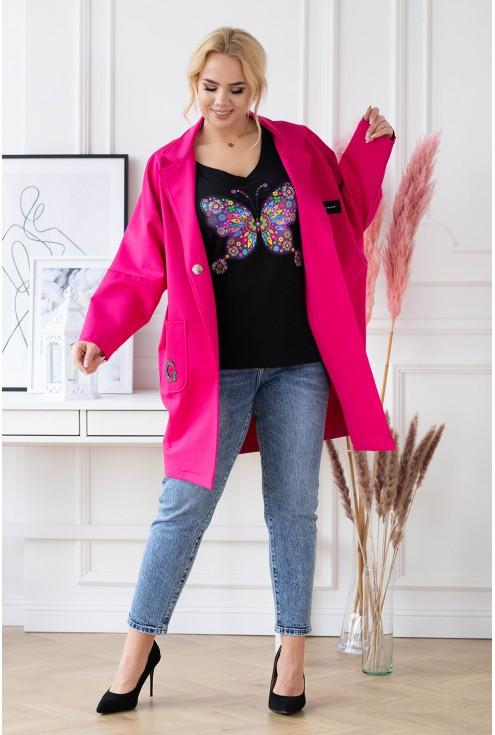 amarantowy modny płaszczyk z długim rękawem