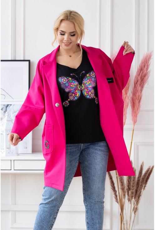 elegancki płaszcz plus size z długim rękawem