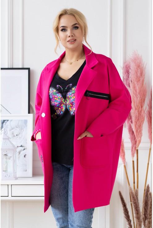 amarantowy elegancki płaszcz plus size