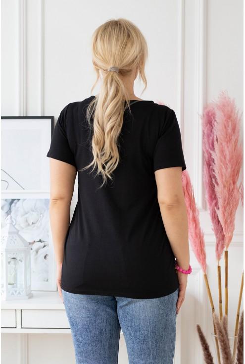 tył czarnego t-shirta plus size