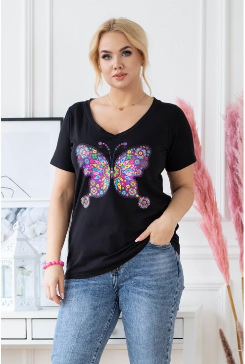 czarny t-shirt plus size z modnym nadrukiem