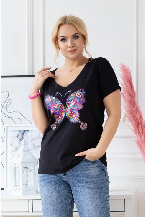modny t-shirt plus size z nadrukiem w kształcie motyla