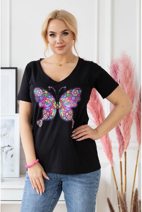 czarny t-shirt plus size z modnym printem