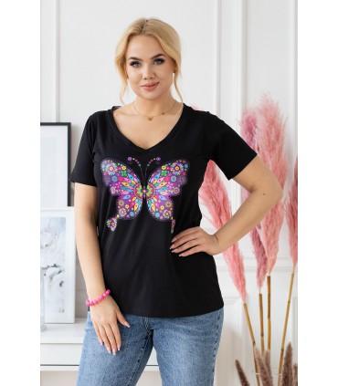 Czarny t-shirt plus size z krótkim rękawem - wzór motyl - SASHA
