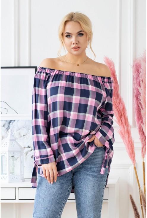 Różowo-granatowa bluzka hiszpanka w kratke plus size