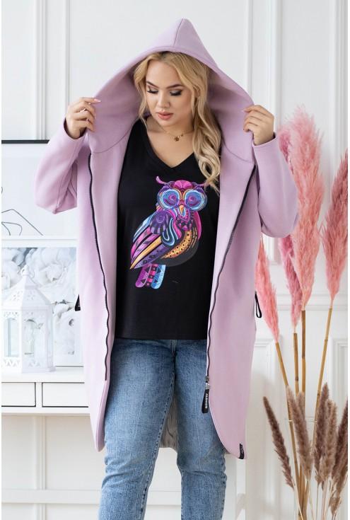 modny płaszcz plus size z kapturem