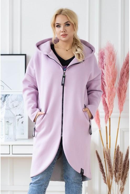 fioletowy ciepły płaszczyk z kapturem xxl