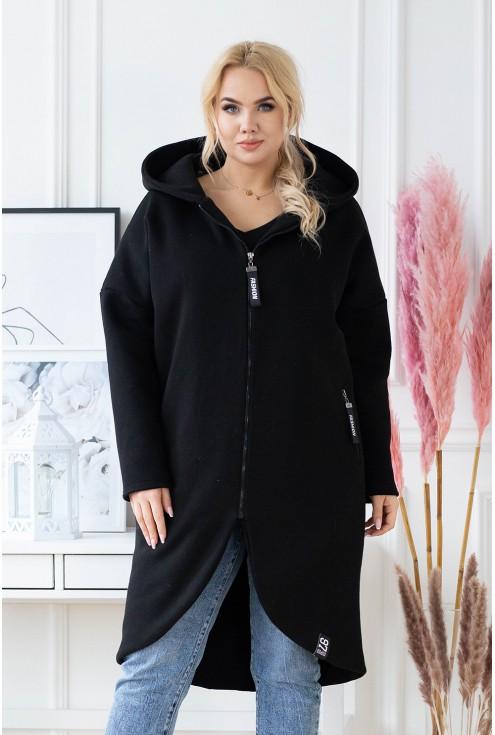 czarny płaszczyk z podszewką plus size