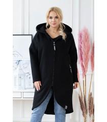 Czarny ciepły płaszczyk plus size z kapturem - LAILA długi