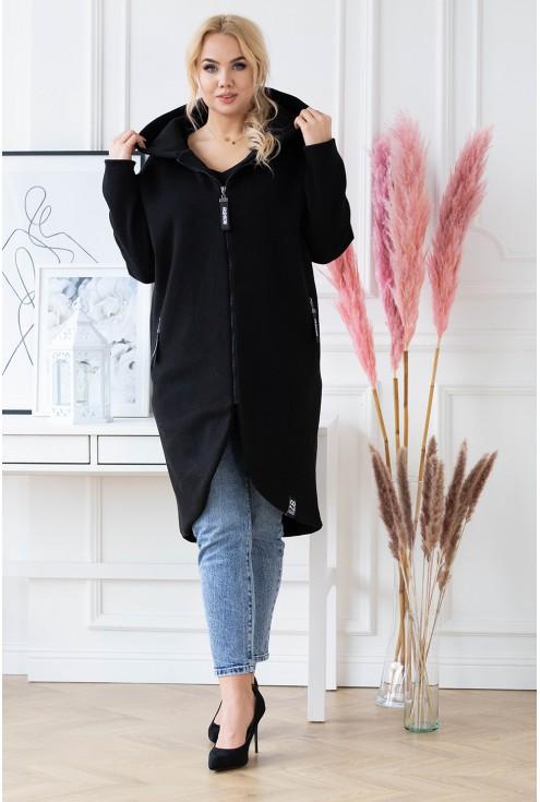 ciepły czarny płaszczyk Laila XXL z kapturem